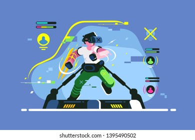 Boy playing in VR games vector illustration. Young guy in headset gaming on virtual reality simulator flat style design. 3d entertainment and playgrounds future concept