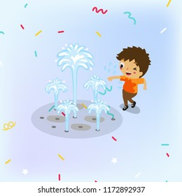 Boy playing with the water fountain