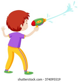 Boy playing with water gun illustration