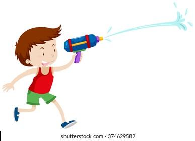 Boy playing with water gun illustration