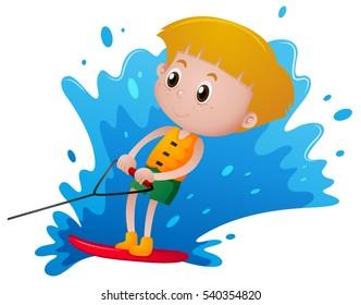 Boy playing water ski  illustration
