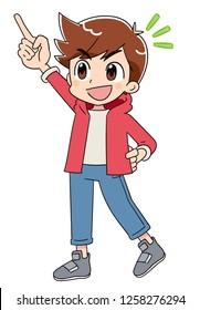 A boy pointing upwards.
