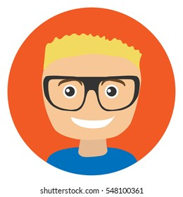 Boy portrait. Boy blonde. Flat. Vector illustration.