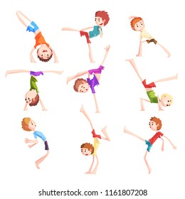 Boy practicing capoeira movements set, kid characters doing combat elements of martial art vector Illustrations on a white background