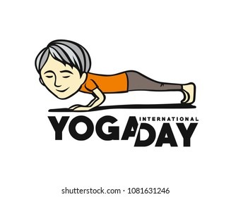 Boy practicing yoga pose, 21st june international yoga day, vector illustration.