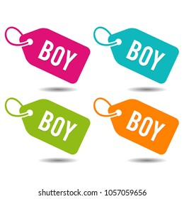 Boy Price Tags. Flat Eps10 Vector Illustration.