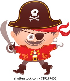 Boy proudly smiling while wearing a pirate costume. The pirate costume has big hat, red bandana, earring, glove, hook, red jacket, belt, saber, hook, eyepatch, boots and a skull on the hat