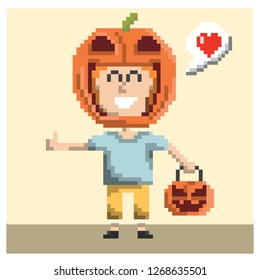 boy with pumpkin costume in pixel art