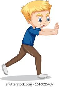 Boy pushing wall on isolated background illustration