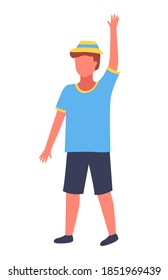 Boy putting up hand to gain attention isolated on white background. Kid dressed in summer clothes in a panama hat on his head raised his hand up and waving. boy wants to get care, child on a walk