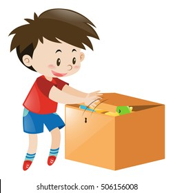 Boy putting things in wooden box illustration