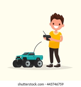 Boy with a radio-controlled car. Vector illustration of a flat design