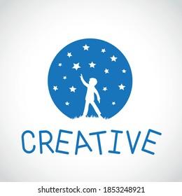 Boy reach star. Silhouette logo, template, vector, clipart.