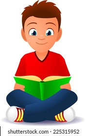 Boy reading a book cartoon illustration