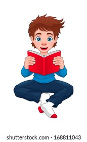 Boy is reading a book. Cartoon and vector isolated character.