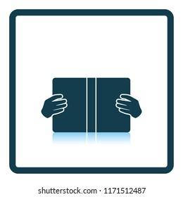 Boy reading book icon. Shadow reflection design. Vector illustration.