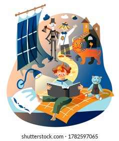 Boy is reading book. Kid sits on bed in children's bedroom, imaging adventures, yellow brick road. Vector character illustration of child literature