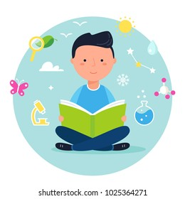 Boy Reading a Book on Science or Nature Study. Modern Vector Illustration.