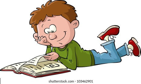 Boy Reading Book Cartoon Images Stock Photos Vectors