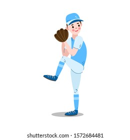 Boy ready to catch ball with baseball glove vector illustration