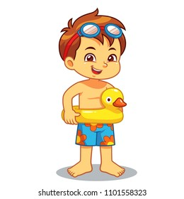 Boy Ready To Swim With Duck Float.