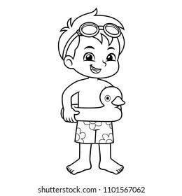 Boy Ready To Swim With Duck Float BW.