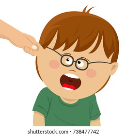 Boy receives physical punishment from the adult. Have grabbed by the ear