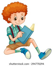 Boy with red curly hair reading a book