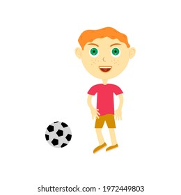 a boy with red hair in a red T-shirt and green big eyes is playing a soccer ball. isolated on white background