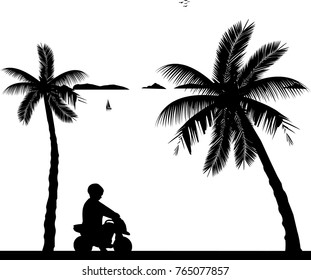 Boy rides on a motorcycle toy on the beach, one in the series of similar images silhouette
