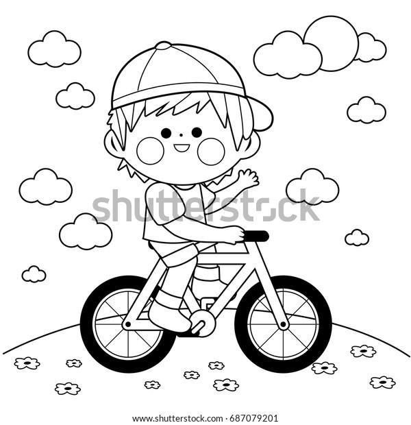 Parkta Bisiklete Binen Cocuk Siyah Ve Stok Vektor Telifsiz