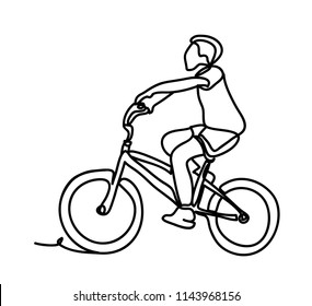 Boy riding bike. Continuous line drawing. Isolated on the white background. Vector monochrome, drawing by lines