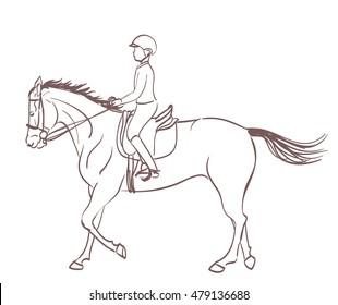 a boy riding a horse. equestrian training theme illustration. vector