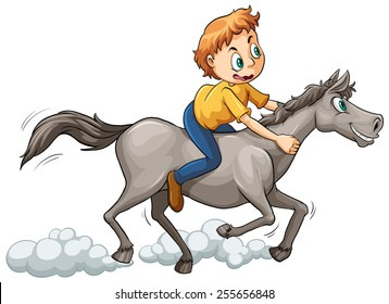 Boy riding a horse on a white background