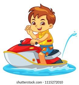 Boy Riding Jetski On The Beach.