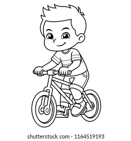 Boy Riding New Red Bicycle BW.
