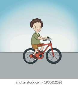 Boy riding a red bike or just learning to ride a bike
