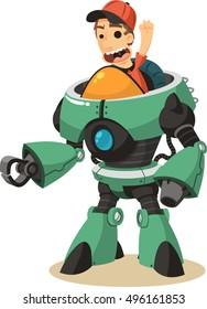 Boy riding robot vector cartoon illustration