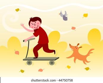 Boy riding a scooter - vector