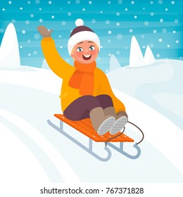 Boy is riding a sleigh from a hill. Children's winter fun. Vector illustration in cartoon style