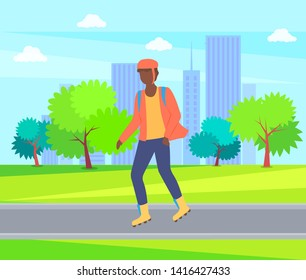 Boy rollerblading in casual clothes, man wearing helmet in city park, trees and buildings. Vector person character going in rollerblades, urban activity