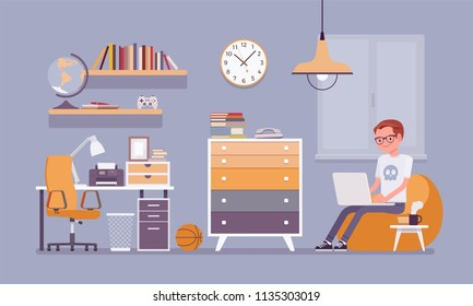 Boy room interior design. Male modern apartment project, teenage private space with furniture and traditional blue decoration to enjoy comfortable living. Vector flat style cartoon illustration