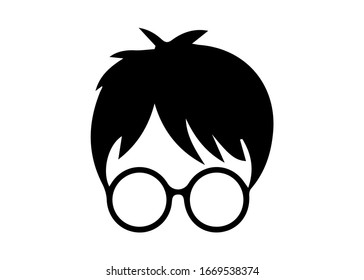 boy with round glasses, potter style vector isolated on white background