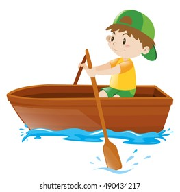 Boy rowing in a wooden boat