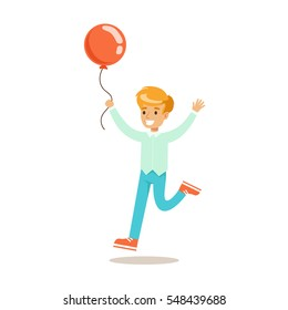 Boy Running With Balloon, Traditional Male Kid Role Expected Classic Behavior Illustration