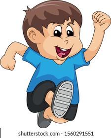 the boy running cartoon vector illustration