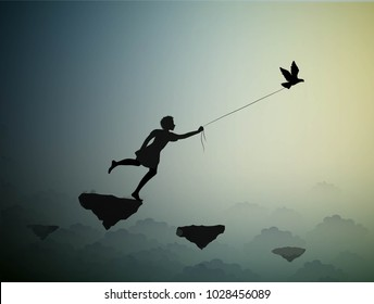 boy  is running and holding pigeon, fly in the dream land,fly away to the sun, shadows, life on flying rock, silhouette.