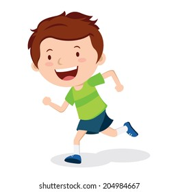 Boy running. Marathon runner or a boy running on school sport day.