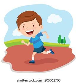 Boy running race. Marathon runner.