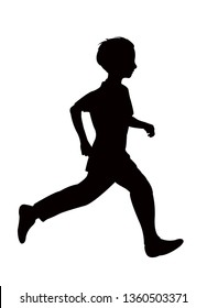 a boy running silhouette vector